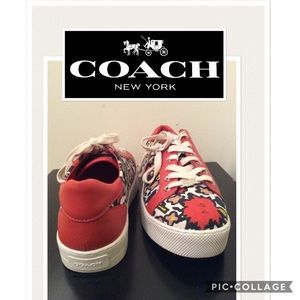 "New Authentic Coach ""Cameron"" red sneakers"